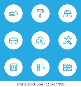 Industry icons line style set with equipment, paint roller, home and other tools elements. Isolated vector illustration industry icons.