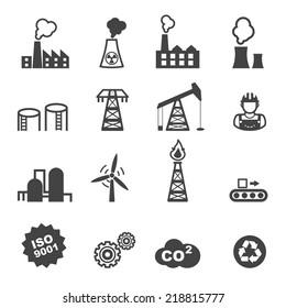 industry icons, mono vector symbols