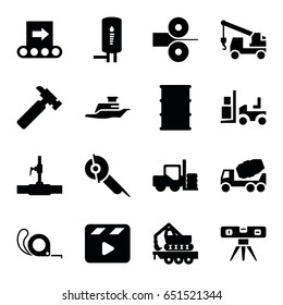Industry icons set. set of 16 industry filled icons such as forklift, hummer, concrete mixer, truck with hook, electric saw, tape, level ruler, barrel, water pipe, cargo crane