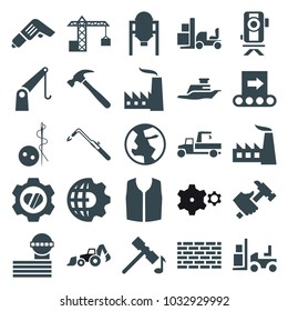 Industry icons. set of 25 editable filled industry icons such as tank, airport tower, hammer, needle button, sleeveless shirt, factory, blowtorch, hummer, forklift