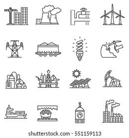 Industry icons set. different kinds enterprise, thin line design. linear symbols collection