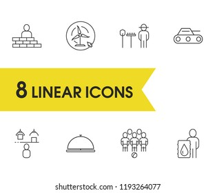 Industry icons set with football, hotel service and game elements. Set of industry icons and military concept. Editable vector elements for logo app UI design.