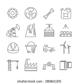 Industry icons, thin line style, flat design.