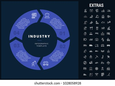 industry infographic template, elements and icons  infograph includes  customizable circular diagram, line icon  nuclear power plants