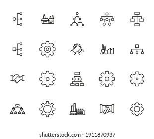 Industry line icons set. Stroke vector elements for trendy design. Simple pictograms for mobile concept and web apps. Vector line icons isolated on a white background.