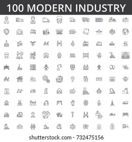 Industry, logistics, plant, warehouse, factory, engineering, construction, distribution, manufacture, heavy industrial line icons, signs. Illustration vector concept. Editable strokes