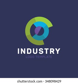 Industry logo. Circle logo. Fabrication logo. Factory logo. Tech logo