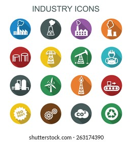 industry long shadow icons, flat vector symbols