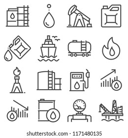 Industry oil linevector icon set - oil jack vector, canister, offshore platform, gas station, pipeline, barrel, factory