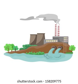 The industry on the bank of a reservoir (vector)
