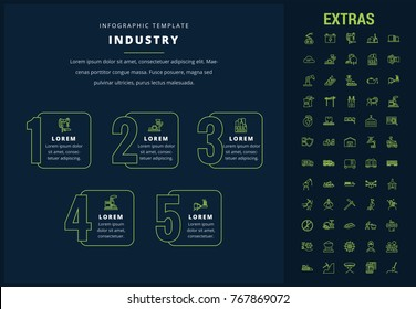 Industry options infographic template, elements and icons. Infograph includes options, line icon set with mining equipment, fossil fuels, conveyor belt, nuclear power plant, manufacturing industry etc