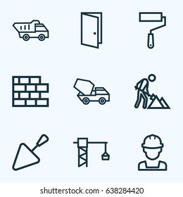 Industry Outline Icons Set. Collection Of Builder, Tower Crane, Wall Painter And Other Elements. Also Includes Symbols Such As Brick, Truck, Cement.