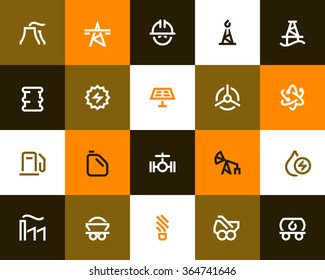 Industry and power generation icons. Flat style