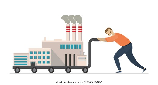 Industry relocation. Worker man push cart with industrial factory. Global relocation of production and equipment. Male character and buildings isolated on white background. Flat vector illustration