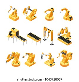 Industry robot machinery, mechanical arm isometric vector set. Machinery robot and robotic isometric equipment for factory manufacturing illustration