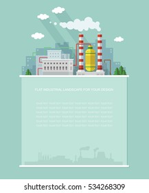 Industry topic. Blank for text. Nuclear power factory, Plant, NPP, flat vector Infographics  design.