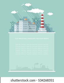 Industry topic. Blank text. Nuclear power plant, factory, NPP, flat vector Infographics for your design.