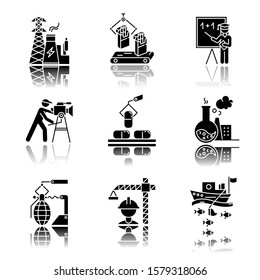 Industry types drop shadow black glyph icons set. Energy, tobacco production, education, filmmaking, pharmacology, chemical industry, arms manufacturing. Isolated vector illustrations