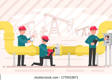 Industry, work, maintenance concept. Team of young men operators characters working on rig plant controlling gas fuel trasportation by pipeline. Oil technological industrial production illustration.