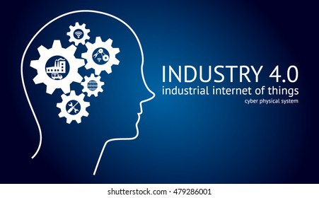 Industry4.0 Cyber Physical Systems concept, , Human head with brain gears and industry icons and text with blue background , vector