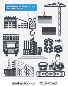 Industry,engineer and construction icon set design,clean vector