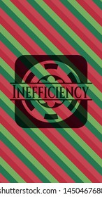 Inefficiency christmas colors style badge. Vector Illustration. Detailed.