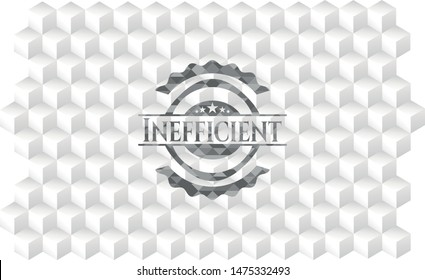 Inefficient grey emblem. Retro with geometric cube white background