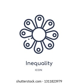 inequality icon from zodiac outline collection. Thin line inequality icon isolated on white background.