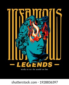 infamous legends slogan print design with ancient greek sculpture illustration