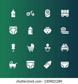 infant icon set. Collection of 16 filled infant icons included Diaper, Baby bottle, Pushchair, Safety car, Pacifier, Stroller, Dummy, Belts candy, Baby, Feeding bottle, Carriage
