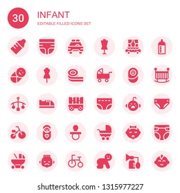 infant icon set. Collection of 30 filled infant icons included Baby bottle, Diaper, Safety car, Dummy, Carriage, Baby, Belts candy, Pushchair, Newborn, Cot, Baby shoes, Cry, Tricycle