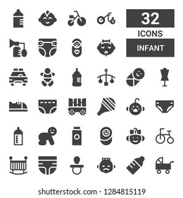 infant icon set. Collection of 32 filled infant icons included Pushchair, Baby bottle, Baby, Pacifier, Diaper, Crib, Tricycle, Newborn, Baby powder, Feeding bottle, Cry, Nasal aspirator