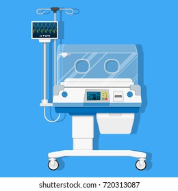 Infant incubators machine maintain healthy environment for newborn premature sick babies neonatal intensive care unit hospital clinic with air temperature humidity oxygen sensor