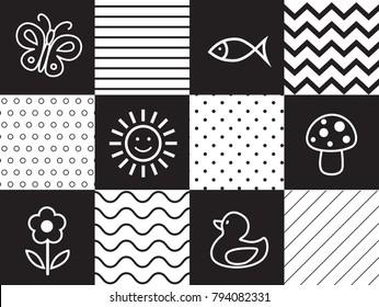 Infant Visual Stimulation Patterns. Black and white newborn wall art