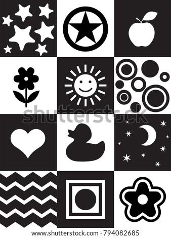 Infant Visual Stimulation Patterns Black White Stock ...