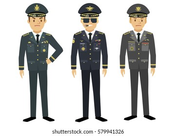 Infantry, aviation and navy generals in different military uniform in flat style isolated on white background