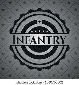 Infantry realistic black emblem. Vector Illustration. Detailed.