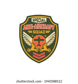 Infantry squad with anti-aircraft machine, tank tracks operation, plane and eagle wings. Vector anti aircraft artillery military chevron with armored vehicle, target aim. Air defense, warfare seal