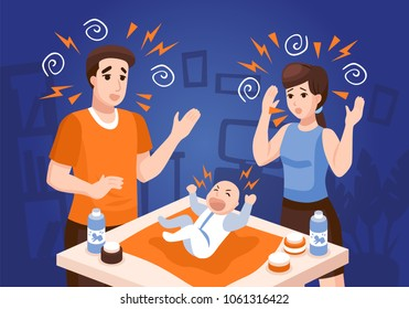 Infants sleeping problems composition with frustrated parents soothing crying newborn baby at night blue background vector illustration