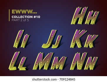 Infected Typeset for Halloween Party Celebration. 3D Font in Spooky Fun Style with Purple and Green Colors. Scary Typography for Flyer, Banner, Invitation, Placard, Decoration, Poster.