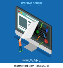 Infected website flat 3d isometry isometric online internet technology malicious software malware concept web vector illustration. Web site user tear page virus bug worm. Creative people collection.