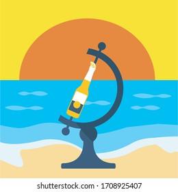 Infected Worldwide spread contamination disease planet background. creative flat design corona bottle beer in sunset on the beach. contagion globe earth vector graphic. coronavirus lemon concept art