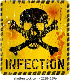 infection, grungy sign, vector