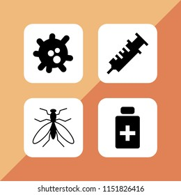 infection icon. 4 infection set with antiseptic, vaccine, virus and mosquito from top view vector icons for web and mobile app