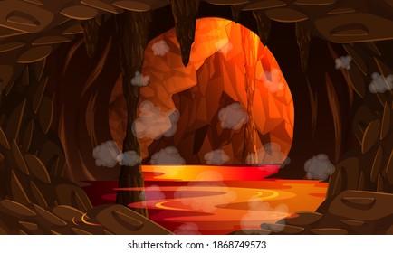 Infernal dark cave with lava scene illustration