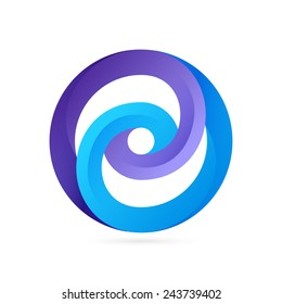 Infinite circle ribbon logo template. Looped shape icon.