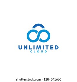 Infinite Cloud Logo for Technology Companies. Storage Unlimited Database Symbols and icons for the Company. Digital Element Logo.