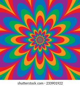 Infinite Flower op art design in primary and secondary colors. Colors are grouped for easy editing.