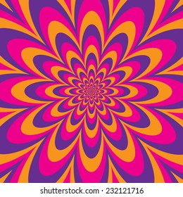 Infinite Flower optical illusion design in purple, pink and yellow.