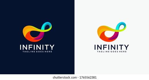 Infinite limitless symbol icon or logo design template. Corporate branding identity rainbow gradient
